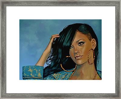 Rihanna Painting Framed Print by Paul Meijering