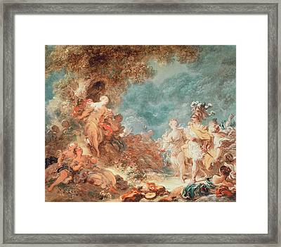 Rinaldo In The Garden Of The Palace Of Armida Framed Print by Jean-Honore Fragonard