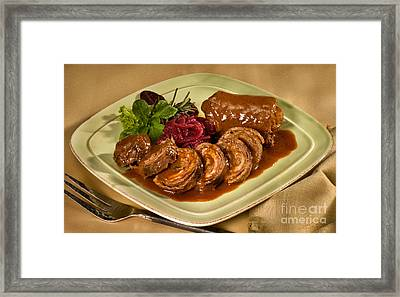 Rinder Rouladen - Beef Rolades Framed Print by Iris Richardson
