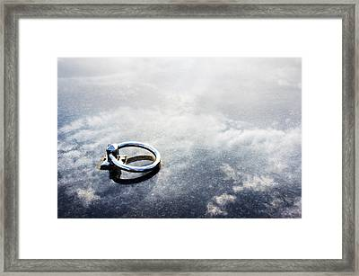 Ring On Marble Gravestone Framed Print by Mikel Martinez de Osaba