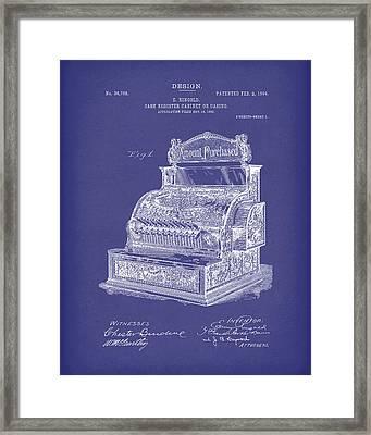 Ringold Cash Register 1904 Patent Art Blue Framed Print by Prior Art Design