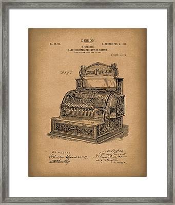 Ringold Cash Register 1904 Patent Art Brown Framed Print by Prior Art Design