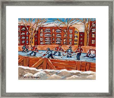 Rink Hockey Game-winter Scene Painting-montreal Street Scenes Framed Print by Carole Spandau