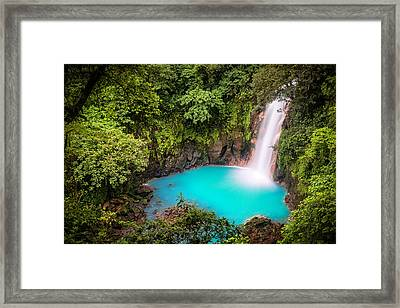 Rio Celeste Waterfall Framed Print by Andres Leon