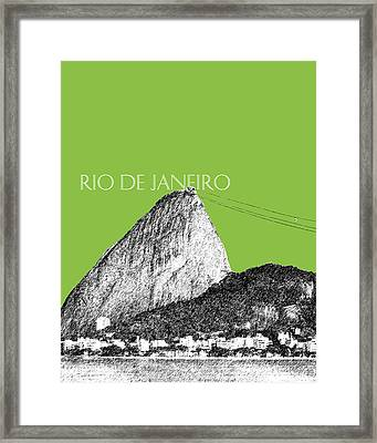 Rio De Janeiro Skyline Sugarloaf Mountain - Olive Framed Print by DB Artist