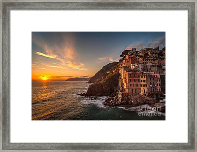 Riomaggiore Rolling Waves Framed Print by Mike Reid