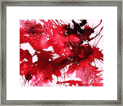 Riot Of Red Abstract Framed Print by Ellen Levinson