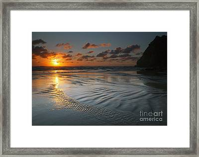 Ripples On The Beach Framed Print by Mike  Dawson