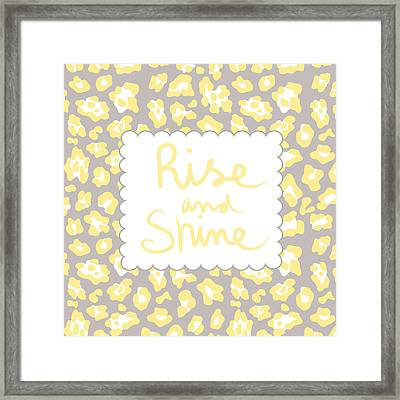 Rise And Shine- Yellow And Grey Framed Print by Linda Woods