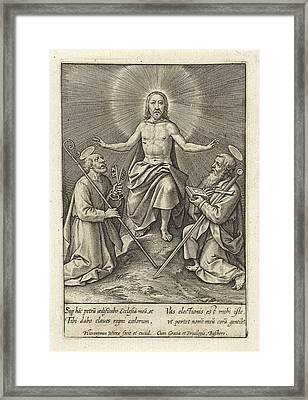 Risen Christ With Peter And Paul, Hieronymus Wierix Framed Print by Hieronymus Wierix