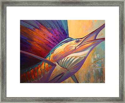 Rising Son - Contemporary Sailfish Painting Framed Print by Savlen Art