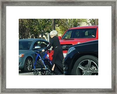 Risky Granny Framed Print by Barbie Corbett-Newmin