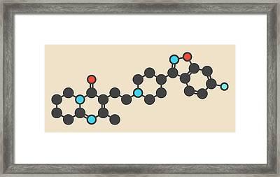 Risperidone Antipsychotic Drug Molecule Framed Print by Molekuul