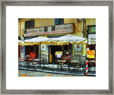 Ristorante In Florence Italy Framed Print by Mel Steinhauer