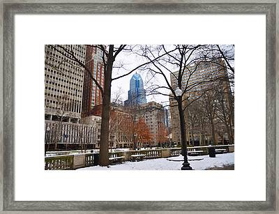 Rittenhouse Square In Wintertime Framed Print by Bill Cannon