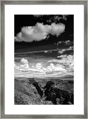 River And Clouds Rio Grande Gorge - Taos New Mexico Framed Print by Silvio Ligutti