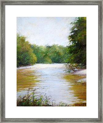 River And Trees Framed Print by Nancy Stutes