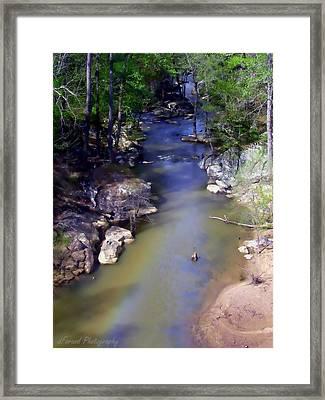 River At Noccalula Falls Framed Print by Debra Forand