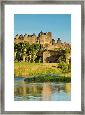 River Aude And Old Bridge (14th Cent Framed Print by Brian Jannsen