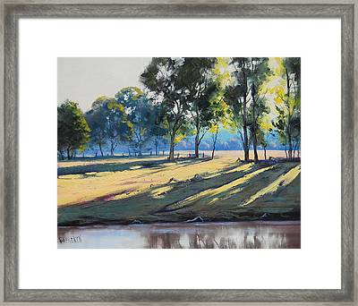 River Bank Shadows Tumut Framed Print by Graham Gercken