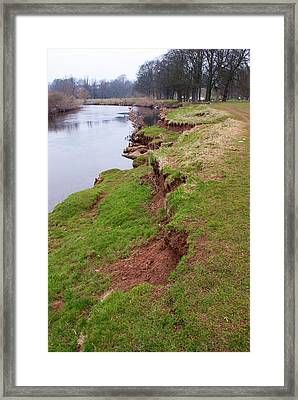 River Bank Slumping Framed Print by Mark Williamson