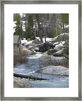 River Cabin Framed Print by Bobbee Rickard