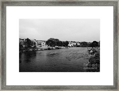 River Derwent On A Rainy Overcast Day Cockermouth Cumbria England Framed Print by Joe Fox