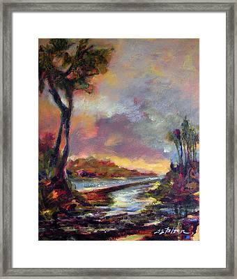 River Dusk Framed Print by Julianne Felton