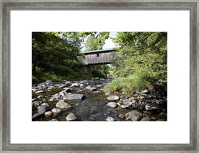 River Gorge Covered Bridge Framed Print by Jim  Wallace