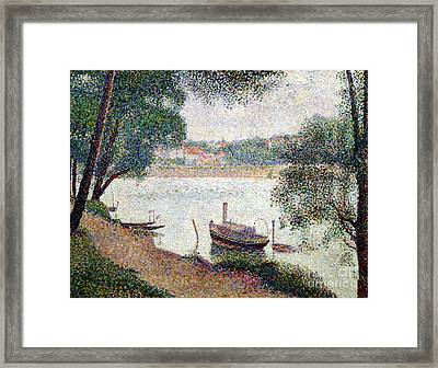 River Landscape With A Boat Framed Print by Georges Pierre Seurat