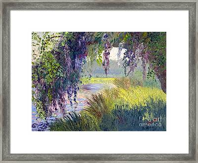 River Through The Moss Framed Print by Patricia Huff
