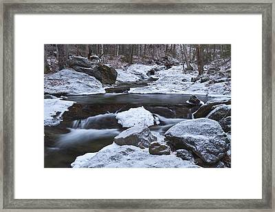 River-vermont-first Snow-forest-waterfall-trees Framed Print by Andy Gimino