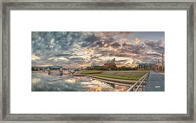 Riverfront Pier Sunrise  Framed Print by Steven Llorca