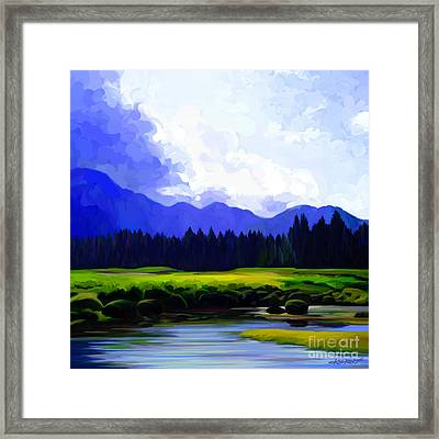 River's Edge Framed Print by Dorinda K Skains