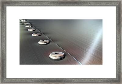 Rivets On Brushed Metal Perspective Framed Print by Allan Swart