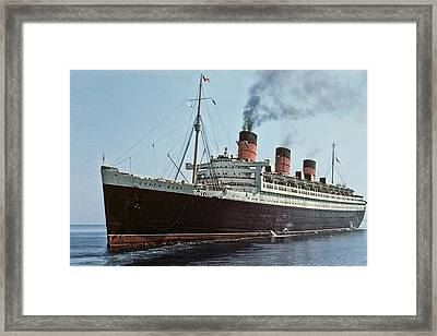 Rms Queen Mary 1952 Framed Print by Eric  Bjerke Sr