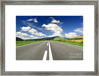 Road And Beautiful Sky Framed Print by Boon Mee
