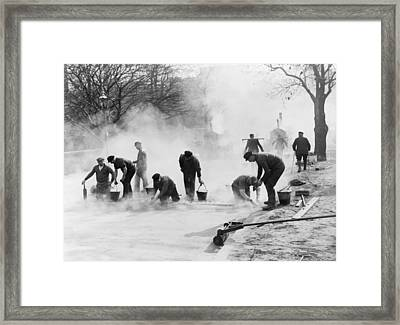 Road Construction Workers In Nazi Framed Print by Everett
