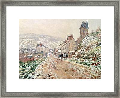 Road In Vetheuil In Winter Framed Print by Claude Monet