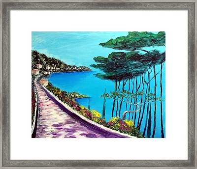 Road On The Riviera Framed Print by Larry Cirigliano