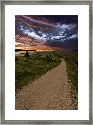 Road To Nowhere - Stormy Little Bend Framed Print by Aaron J Groen