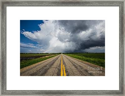 Road To Nowhere  Supercell Framed Print by Aaron J Groen