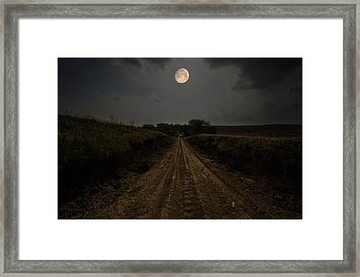Road To Nowhere - Waxing Gibbous Moon Framed Print by Aaron J Groen