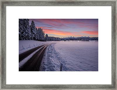 Road To The Cold Framed Print by Dominique Dubied