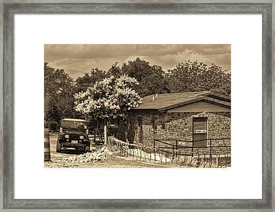 Road Work In Rural City Framed Print by Linda Phelps