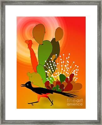 Roadrunner Sunrise Framed Print by Methune Hively