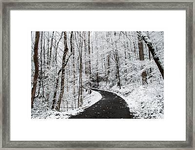 Roaring Fork Snowy Road Framed Print by Debbie Green