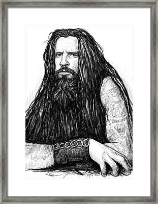 Rob Zombie Art Drawing Sketch Portrait Framed Print by Kim Wang
