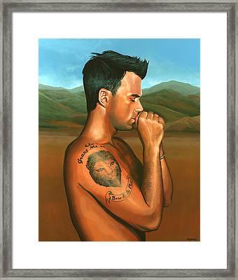 Robbie Williams Angels Painting Framed Print by Paul Meijering