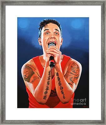Robbie Williams Painting Framed Print by Paul Meijering